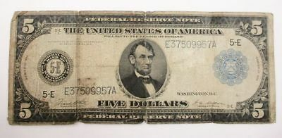 $5 Dollar Large Size Federal Reserve Bank Note 1914 #E37509957A