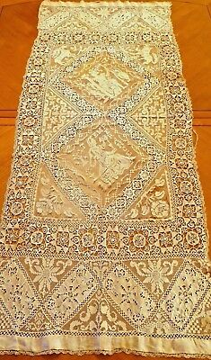 Antique Lace Runner Handmade Needlelace Reticella French Figural Filet Panel