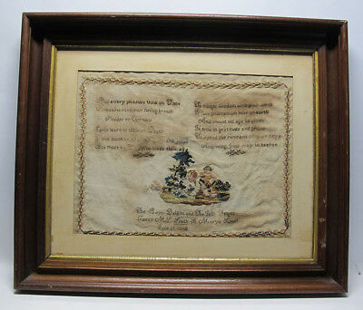Antique Dated 1848 Fanny Smith St Mary's School Folk Art Needlework Sampler  yqz