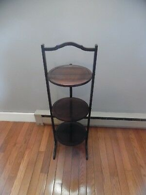 ANTIQUE / VINTAGE Mahogany  3-Tier Turned Wood Folding Pie Pastry Plant Stand