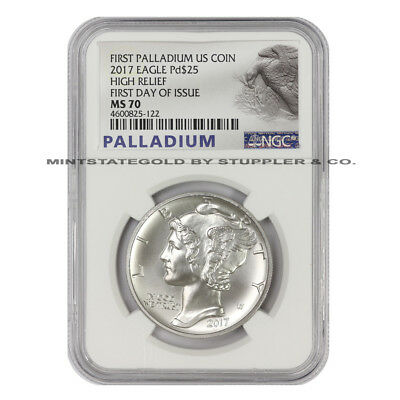 2017 $25 Palladium Eagle NGC MS70 FDOI First Day of Issue High Relief coin