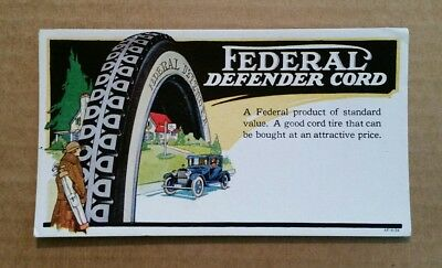 Federal Defender Cord Tires,Advertising Ink Blotter,1920's