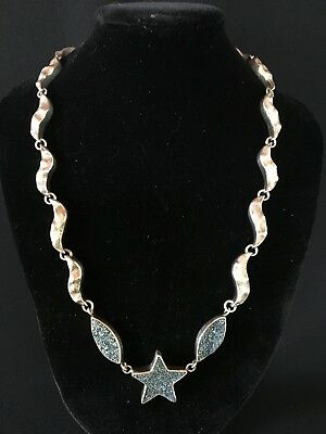 Vintage Solid 925 Sterling Silver Necklace with Drusy Quartz Star and Accent 34g