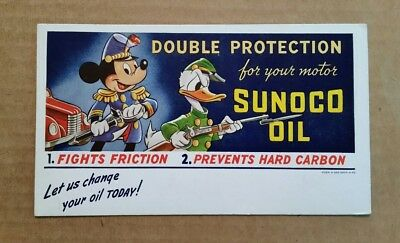 Sunoco Motor Oil,Mickey & Donald Ink Blotter,1941