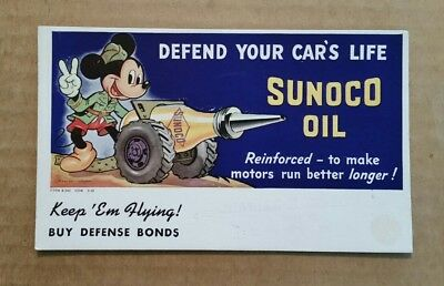 Sunoco Motor Oil,Mickey Mouse WWII Theme Ink Blotter,1942