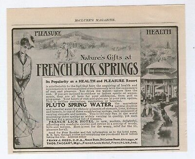 1902 McClures Mag Ad French Lick Springs Indiana Women Golfer Golf Pluto Water