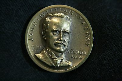 John William Mackay/Nevada High Relief Bronze Medal, Medallic Art Co.