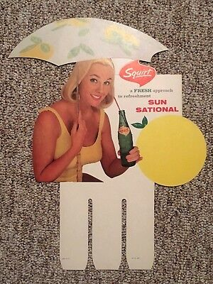 Vtg Squirt Store Advertisement Display Carton Topper Pin Up Girl
