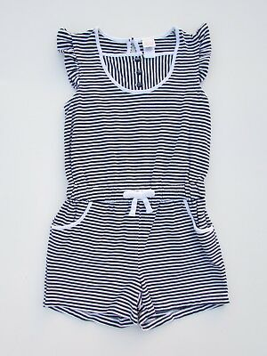Janie and Jack 5 Resort Collection Navy Blue White Stripe Knit Shorts Romper AB1