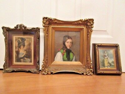 3 Antique Victorian Gilt On Wood Frames With Original Art Beautiful Condition