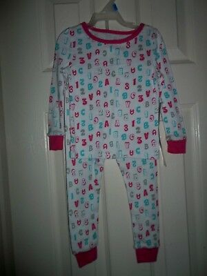 nwt-Baby Girl-2 piece Pajama Sleep Set-ABC-123-pink-white-blue-24 Months