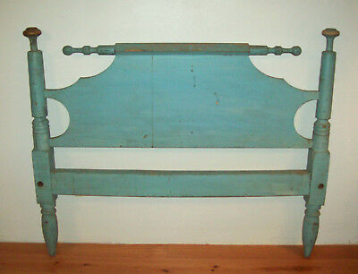 Old Antique Vtg 1850s Bed W/ Early Blue Paint, Great Headboard and Folky Finials