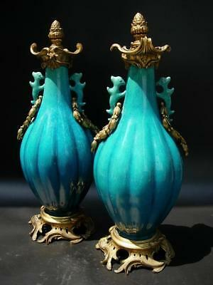 A Pair Of Antique French Ormolu- Mounted Chinese Turquoise Glazed Vases