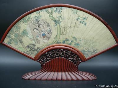 A Large Antique Chinese Fan Painting Of 'lady And Child' Framed & Glazed