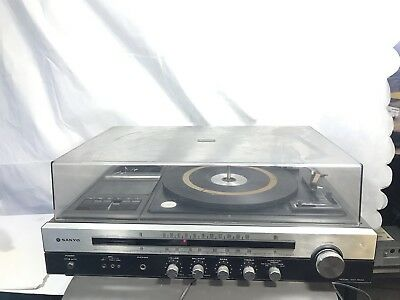 Vintage Sanyo GXT-4504 Stereo Receiver Turntable AM/FM Radio Tape Player Tested