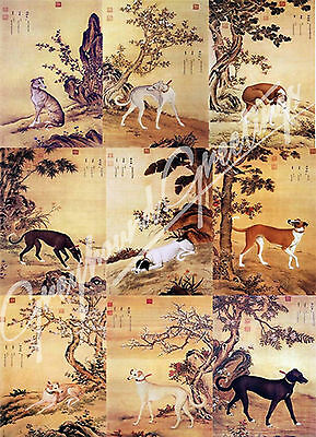 Ancient Art - Prized Greyhound Dogs Note Cards - set of 9 w/envelopes