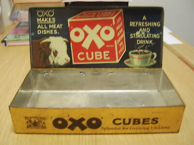 Large Vintage Oxo Cubes Tin Box  'Splendid For Growing Children'