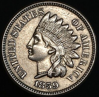 1859 Indian Head Penny Au Sharp Detail ,1st Issue Better Date - Free Shipping
