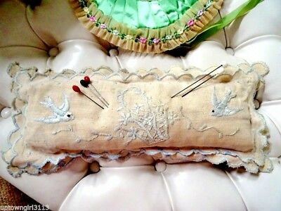 vintage HATPIN PIN CUSHION linen birds EMBROIDERY TEXTILE large BEAUTIFUL