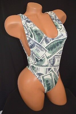 Exotic Dancer Stripper UV Glow Money Print One Piece Thong Back Romper Dancewear