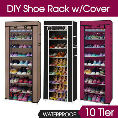 27 Pairs Shoe Rack 10 Tier Cabinet Storage Organiser Stand Black/Coffee/Red