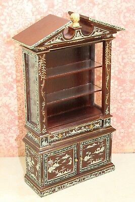 Bespaq Colonial Revival Hand Painted Display Cabinet Dollhouse Miniature BQ-1211
