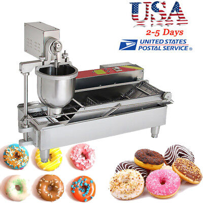 USA Commercial Auto Donut Maker Making Machine Stainless Steel+3 Size Bake Mold