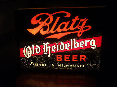 large 1930's BLATZ OLD HEIDELBERG BEER lighted sign glass MILWAUKEE WISC Allison