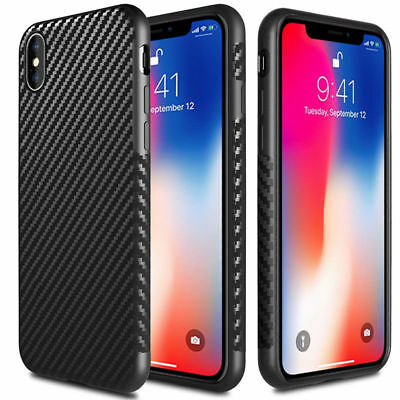 Flexible Shockproof Silica Carbon Fiber Case Cover for iPhone 6 6s 7 8 Plus X 10