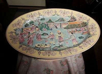 Antique Chinese Rose Mandarin serving platter 18 inches Plate Qing