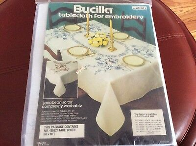 """Vintage Bucilla  """"Jacobean Scroll""""  60"""" X 80"""" Tablecloth Stamped Embroidery Kit"""