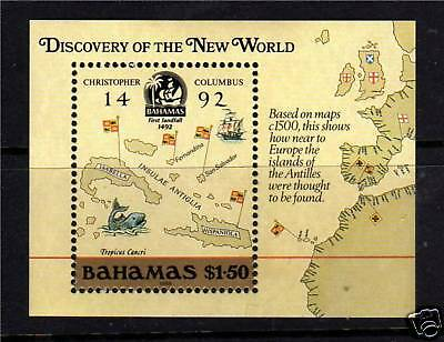 Bahamas 1988 Columbus 1st issue MS 823 MNH