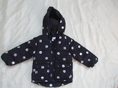 H+T size 2 Black Polka dot Puffer Hooded Jacket New