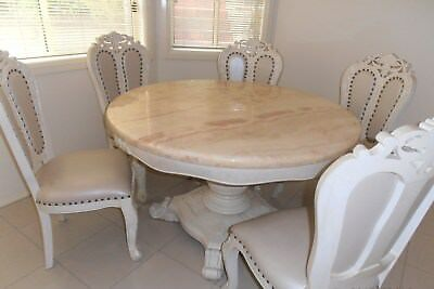 Marble Dinning table with matched 6 leather chairs. Good Quality #SundayMarket