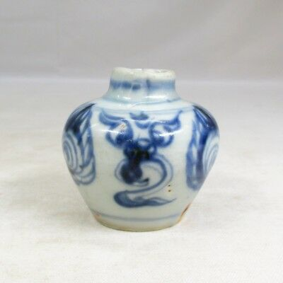 D043: Chinese old blue-and-white porcelain small vase of Qing Dynasty age