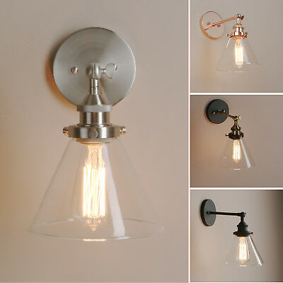 Pathson Funnel Clear Glass Vintage Industrial Wall Lamp Sconce Up Down Bar Light