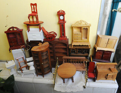 Large Lot of Vintage Random Dollhouse furniture from 1970's-1990's in Good Cond.
