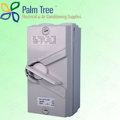 2x Enclosed Isolator Switch Single 1 Pole/Phase IP66 32A Weather Protected