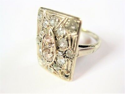 Art Deco Ring Weißgold 585 mit Diamanten, 4,10 g