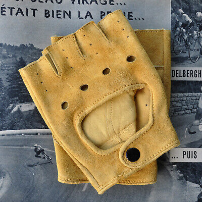 Vintage Style Suede Leather Cycling Gloves Track Mitts L'Eroica Retro