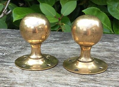 Old Vintage Antique Rose Gold Coloured Brass Door Knobs With Backplates