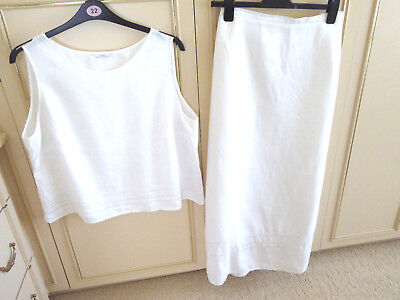 Marks & Spencer 100% White Linen Lined Maxi Skirt And T0P Suit Size 22 Length 37