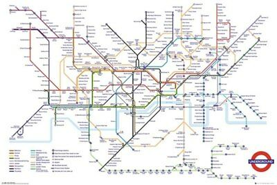 Transport for London Underground Map-Poster-Laminated available-91cm x 61cm-B...