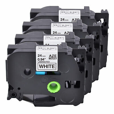 AU STOCK 4PK TZ251 TZe-251 Black on White Label Tape For Brother P-touch 24mm