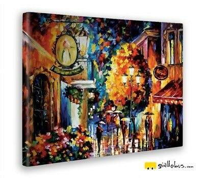 Giallobus - Cuadro - Leonid Afremov- café in the antiguo city