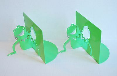 2 Rare Kermit the Frog NEW Metal cut-out Bookends Michael Graves Sesame Street