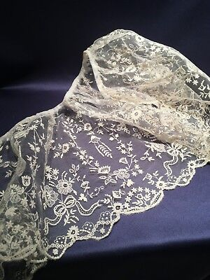 """Very Pretty Handmade Tambour Lace Collar or Lace Flounce 9"""" by 45"""""""