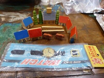 Vintage 60's TOYS miniature wooden toy blocks Germany & Toy Watch JAPAN