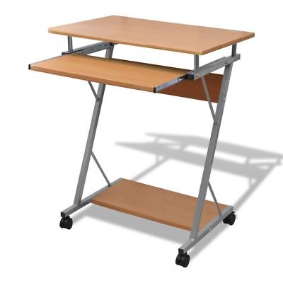 Computer Desk Pull Out Tray Brown Furniture Office Student Table#