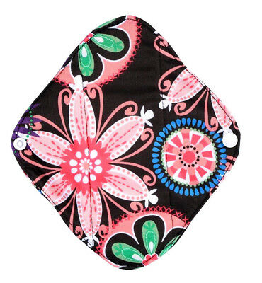 Set of 5 Reusable Panty Liners / Light Flow Cloth Sanitary Pads - Neon Flowers